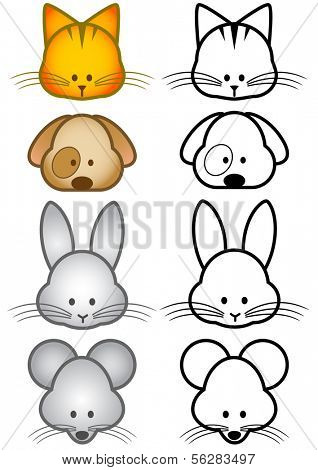 Vector illustration set of different cartoon pet animals. All vector objects and details are isolated and grouped. Colors and transparent background color are easy to adjust.