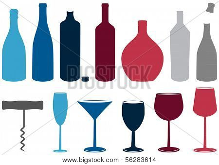 Illustration set of wine and liquor bottles, glasses and corkscrew. All objects and details are isolated and grouped. Colors and transparent background color are easy to customize.