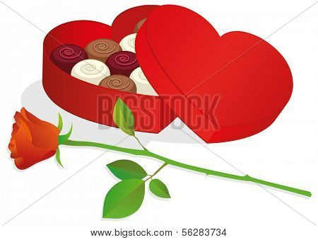 Vector illustration of a heart shaped box with chocolates and red rose. All objects are isolated. Colors and transparent background color are easy to adjust.