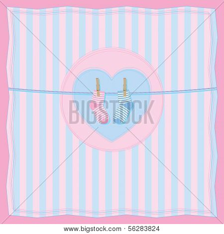 Vector illustration of baby card with clothesline and baby socks. All vector objects and details are isolated and grouped. Colors and picture composition are easy to customize.