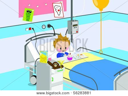 Illustration of a child eating a meal in hospital bed. All vector objects and details are isolated and grouped. This illustration is a part of a story about a child in hospital.