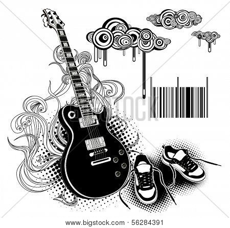 modern guitar and shoes