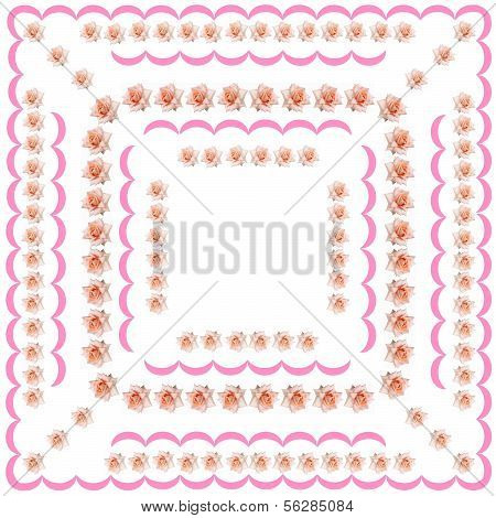 pink roses as pattern for tablecloth