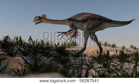 gigantoraptor on prehistoric hills