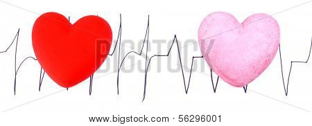 Hearts on cardiogram background, isolated on white