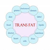 Trans Fat concept circular diagram in pink and blue with great terms such as grams oils heart and more. poster