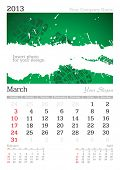 March 2013 A3 calendar - vector illustration poster