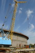 Oil tank erection, capacity of tank is 100 thousand tonnes, Uraine poster