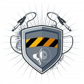 Shield security with megaphone and socket jack for music device. poster