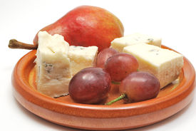 Plate With Cheese, Pear And Grapes