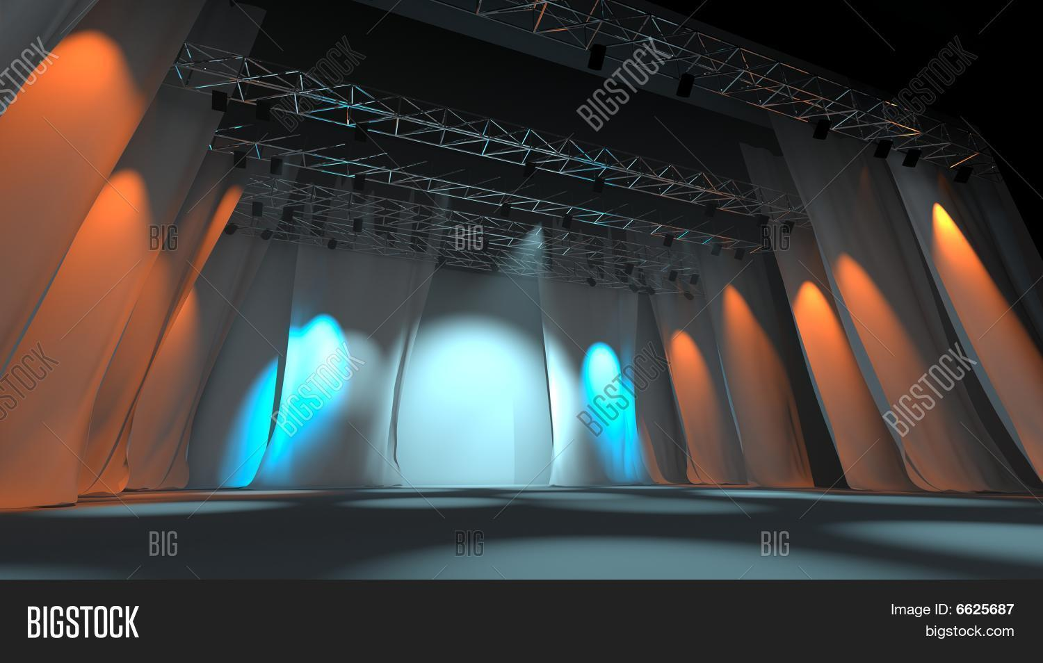 Empty Stage With Lights