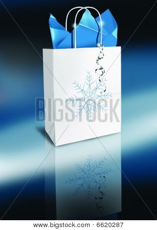 Holiday Gift shopping Bag Snowflake