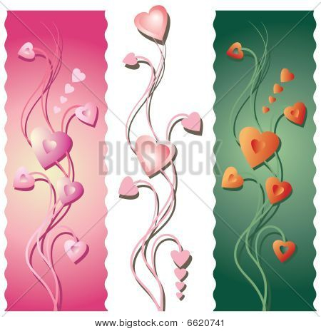 Three Floral Valentines Borders