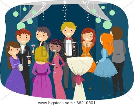 Illustration Featuring Teens Dressed Sharply for Prom Night