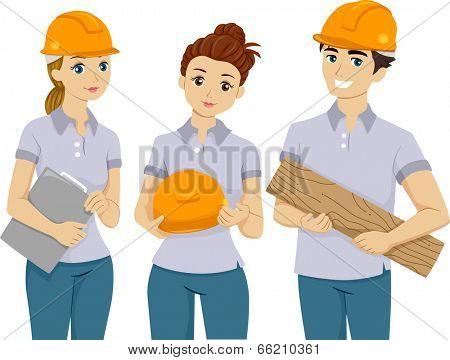 Illustration of Teens Doing Volunteer Work