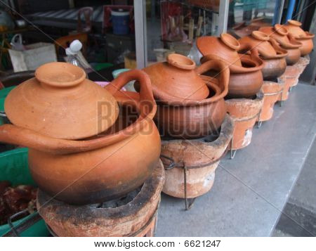 Clay pots for cooking food in Bangkok, Thailand.