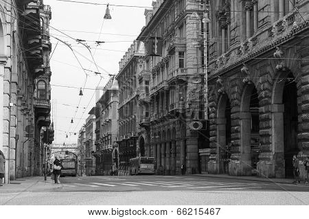 Black And White Via Xx Settembre Colonnade In Genoa