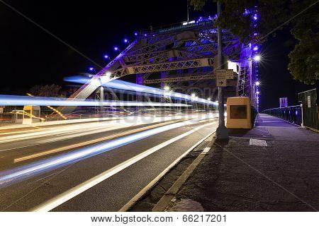 Brisbane Story Bridge night traffic trails