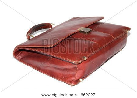 Old Briefcase Isolated On White