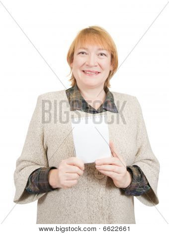 Smiling Senior Woman Holding On Empty Notebook