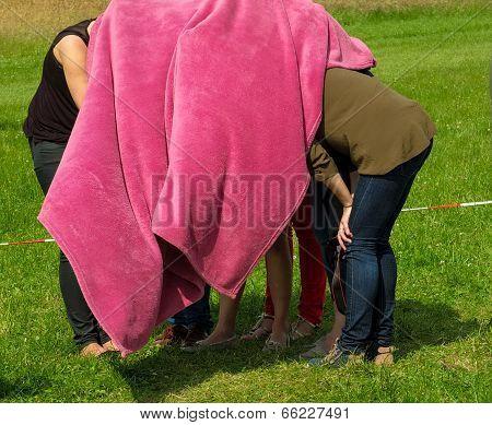 Crowd Women Under  Pink Blanket Hiding  Nature