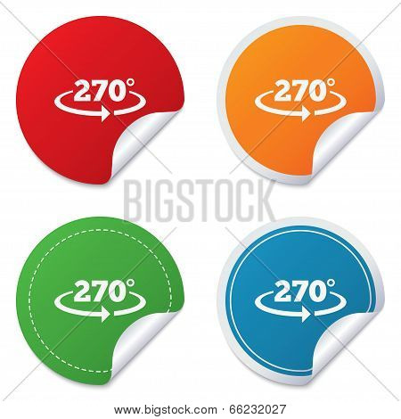 Angle 270 degrees sign icon. Geometry math symbol. Round stickers. Circle labels with shadows. Curved corner. Vector poster