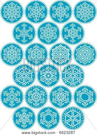 Snowflakes Blue Round Kit