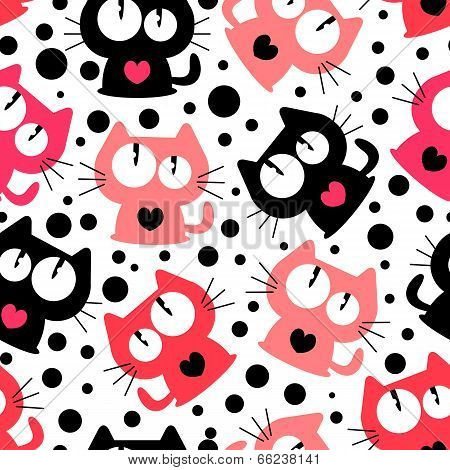 Seamless Pattern With Cute Funny Cartoon Cats. Vector Seamless Texture For Wallpapers, Pattern Fills