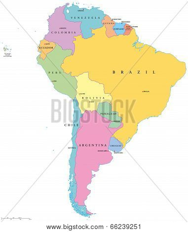 South America Single States Map