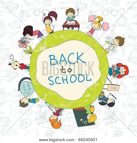 Kids school emblem sketch poster