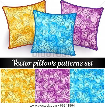 Vector decorative pillows with curls patterns set poster