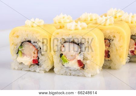 Sushi Roll With Crabs And Avocado