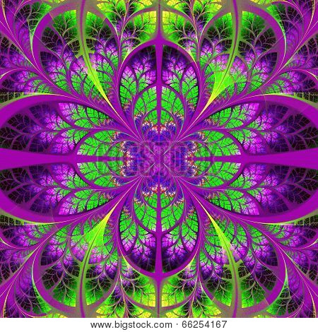Symmetrical fractal pattern Green and purple palette. poster