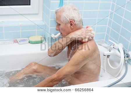 Senior Man Bathing