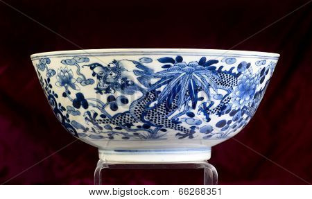 Antique Chinese Blue And White Bowl.