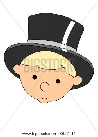 Baby New Year Head Wearing Black Top Hat Vector Illustration