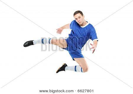 Footballer in a jump