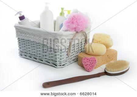 Cesta de produtos de higiene pessoal banho com Gel de duche