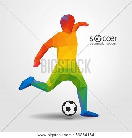 Soccer Player Kick Striker Player Geometric Design  Vector.
