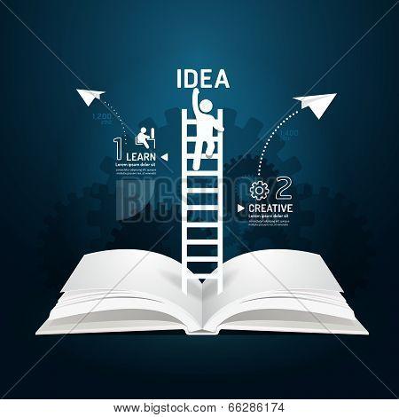 Infographic Climbing Ladder Book Diagram Creative Paper Cut Style  Template Concept.vector Illustrat