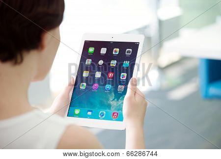 Woman Holding Apple Ipad Air