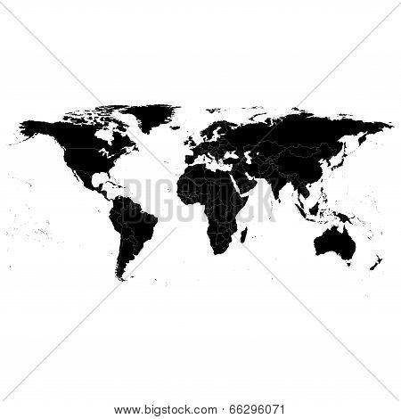 poster of Black Political World Map, light design vector illustration