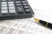 A calculator pen and financial statement, Pen poster