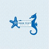 Starfish and seahorse waves background: blue white poster