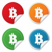 Bitcoin sign icon. Cryptography currency symbol. P2P. Round stickers. Circle labels with shadows. Curved corner. Vector poster