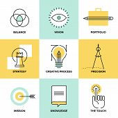 Creative design process concept with web studio development elements - business vision marketing strategy smart solution and success ideas. Flat line icons modern style vector illustration set. poster