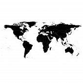 Black Political World Map, light design vector illustration poster