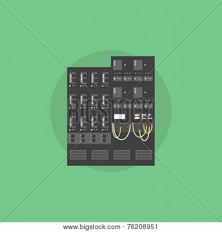 Network Server Flat Icon Illustration