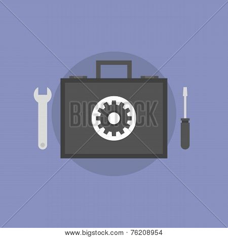 Technical Support Flat Icon Illustration