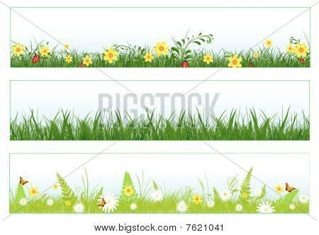 poster of Illustration of three web banners in spring and summer themes: foliage, grass, flowers and butterflies